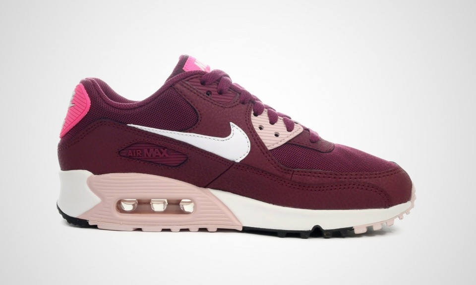 huge discount 39ee0 db003 ... Nike Air Max 90 Essential Chaussures Pour Femme Méchant Blanc-Champagne  Rouge Rose ...