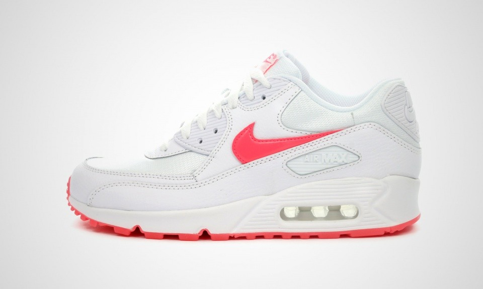 Nike Air Max 90 Glow GS Femmes Trainers Blanche/Poinçon Hyper/Pourpre Totale 685602-100