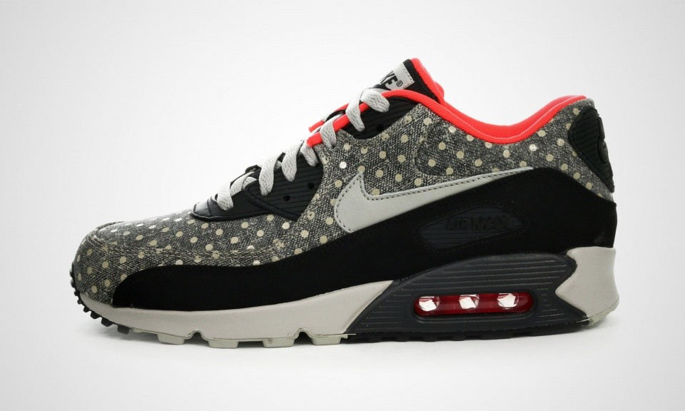 "Nike Air Max 90 Cuir Premium ""Polka Dot Pack"" Chaussures Pour Homme Noir/Granit Anthracite Brillante Pourpre 666578-006"