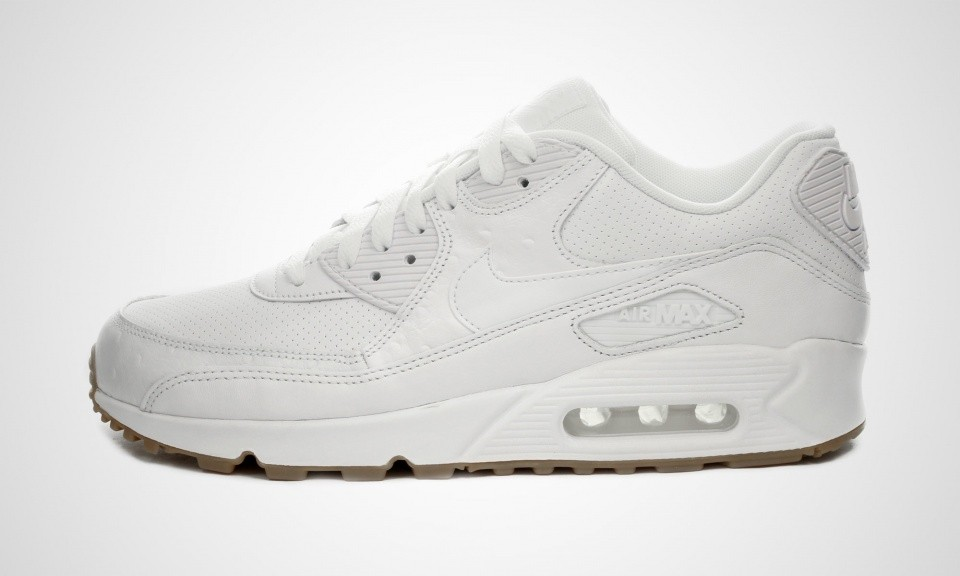 brand new 85215 612ac Nike Air Max 90 Cuir PA Ostrich and Gum Pack Homme Chaussures De Ville  Blanche