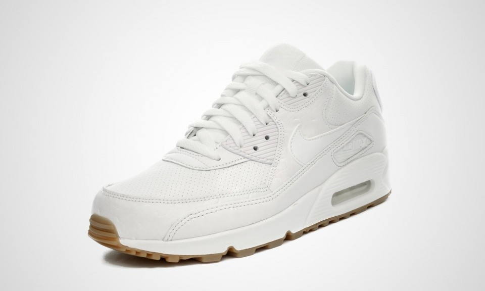 sports shoes 68ab7 8f328 ... Nike Air Max 90 Cuir PA Ostrich and Gum Pack Homme Chaussures De Ville  Blanche  ...