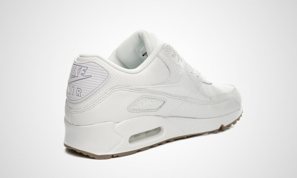 sports shoes 8bf3a 5f34a ... Nike Air Max 90 Cuir PA Ostrich and Gum Pack Homme Chaussures De Ville  Blanche  ...