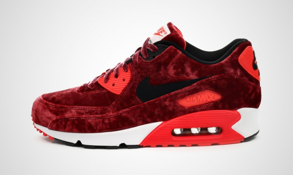 Homme Nike Air Max 90 Anniversary Sneakers Gymnase Rouge/Or Noir Infrarouge Métallique 725235-600
