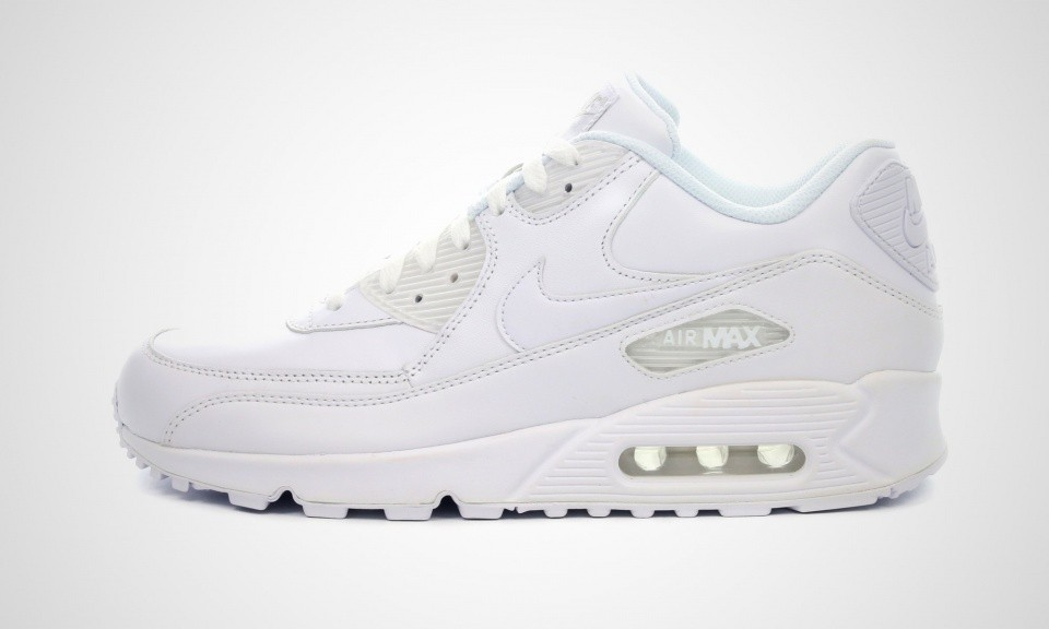 Homme Nike Air Max 90 Cuir Chaussures Running Blanche 302519-113