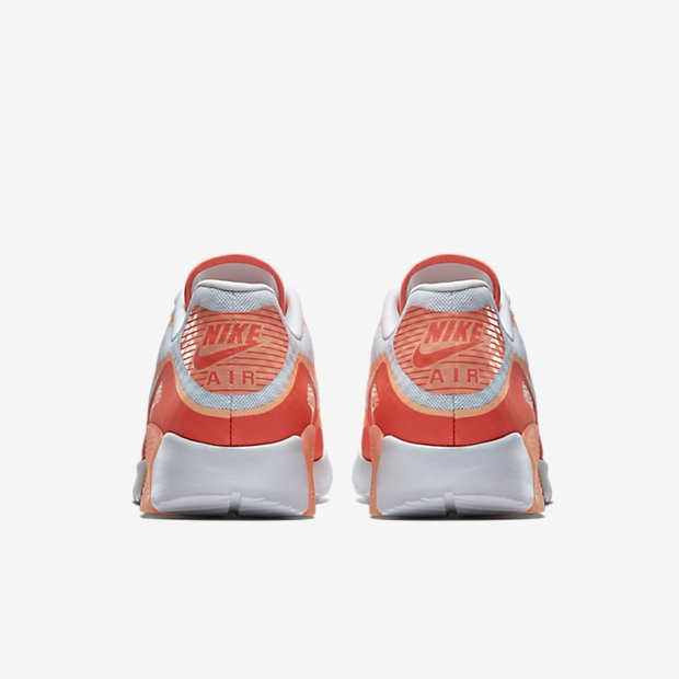 Femme Nike Air Max 90 Ultra BR Breathe Sneakers Blanche/Lave Chaude/Soleil Couchant 725061-100