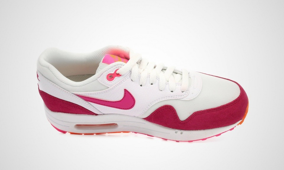 Nike Air Max 1 Essential Femmes Chaussures Running Blanche/Rose Fireberry Pow-Totale D'Orange 599820-112