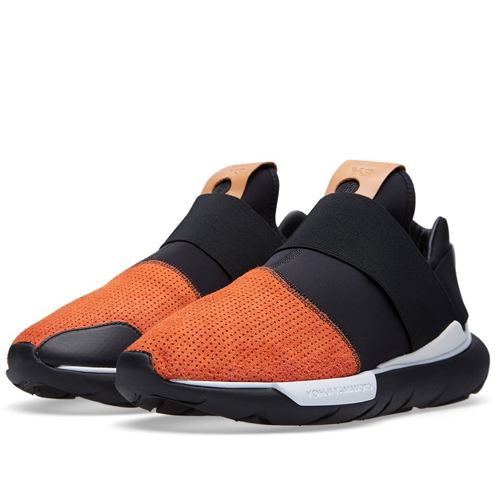 Homme Adidas Y-3 Qasa Low Basse Trainers Orange Noir/Blanc B35676