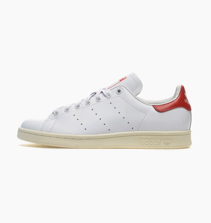 Homme Adidas Stan Smith Premium Cuir Chaussures Néo-Blanc-Rouge B25363