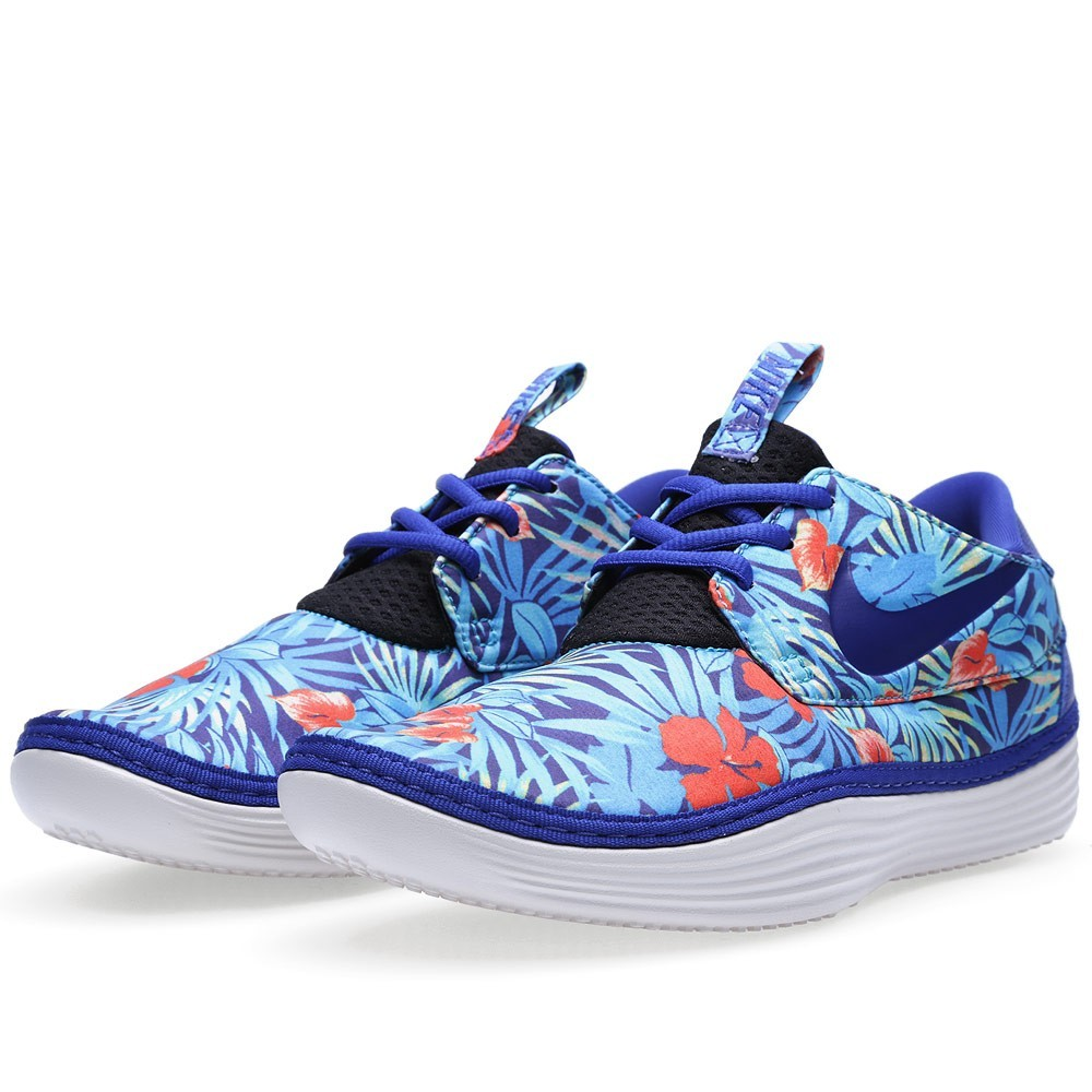 Nike Solarsoft Moccasin Sp Floral - Fleur Print Pack Hommes Sneakers Ancien Bleu Royal 622268-444