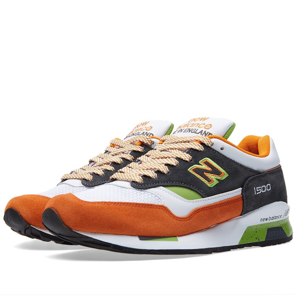 New Balance M1500MO - Made In England Chaussures Running Pour Homme Blanche/Orange/Vert