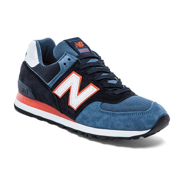 New Balance 574 Made IN USA Homme Chaussures De Sport Bleu Marine/Minuit/Orange/Blanc