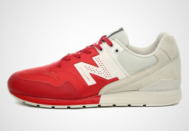 Homme New Balance 996 Reengineered Two-Tone Trainers Rouge/Beige