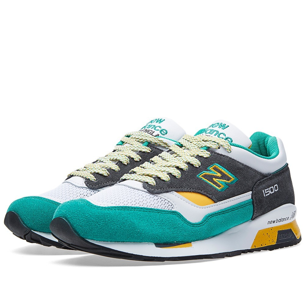 Femme New Balance 1500 - Made In England Trainers Blanche Vert Anthracite/Jaune M1500MG