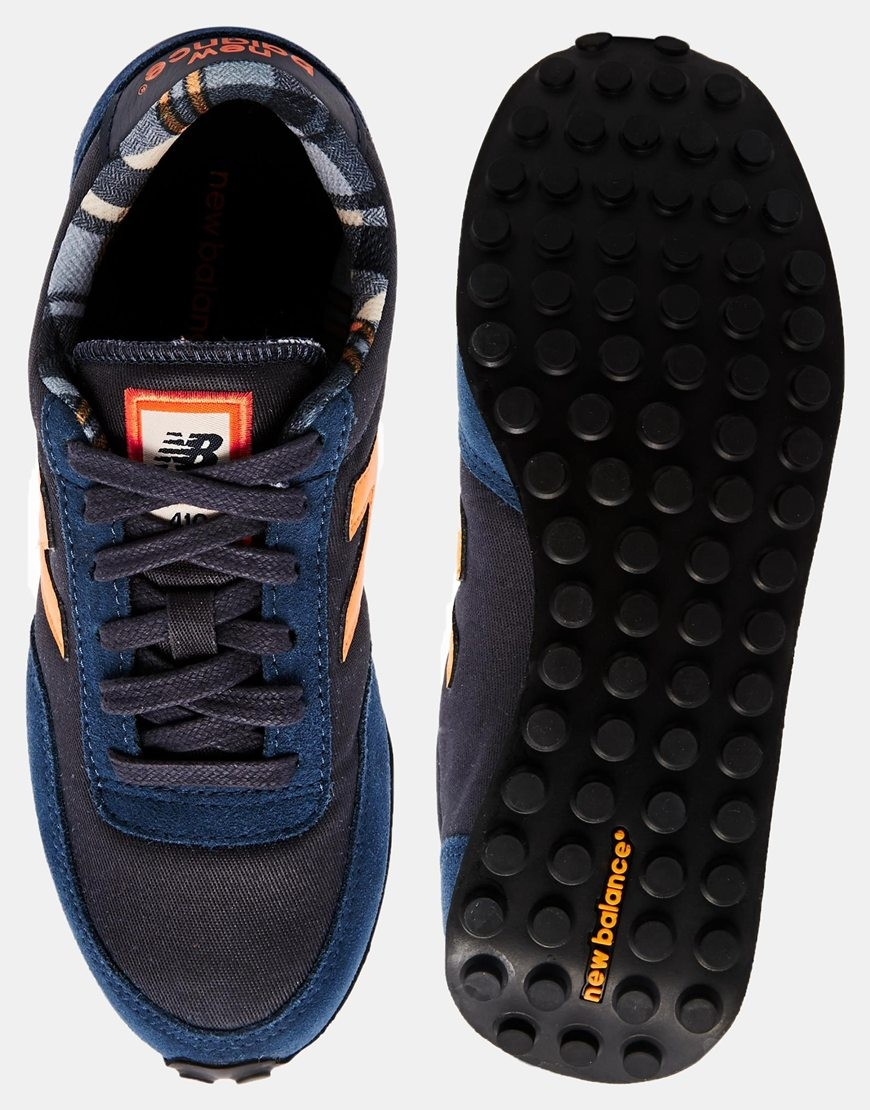 New Balance 410 Daim/Wax Canvas Homme Trainers Bleu/Orange/Violet Anglais