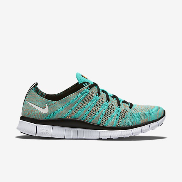 Homme Nike Free Flyknit NSW Chaussures Running Jade Hyper/D'Orange Totale/Noir/Blanc 599459-301