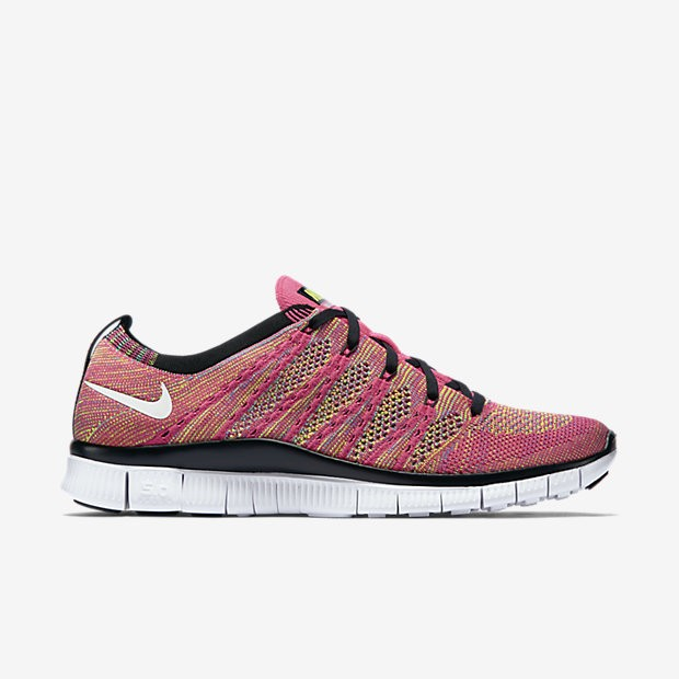 Nike Free Flyknit NSW Hommes Chaussures Training Rose Éclair/Volt/Lueur Bleu/Blanc 599459-600