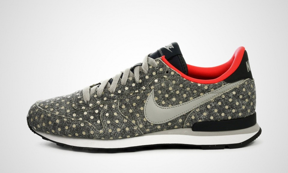 Femme Nike Internationalist Cuir Premium LTR PRM Polka Dot Pack Chaussures De Sport Anthracite/Granit/Rouge 705279-002