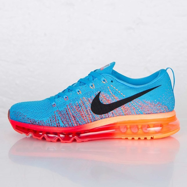 Nike Flyknit Air Max Homme Sneakers Vives Bleu/Noir/Rouge Gymnase Orange/Atomique 620469-406