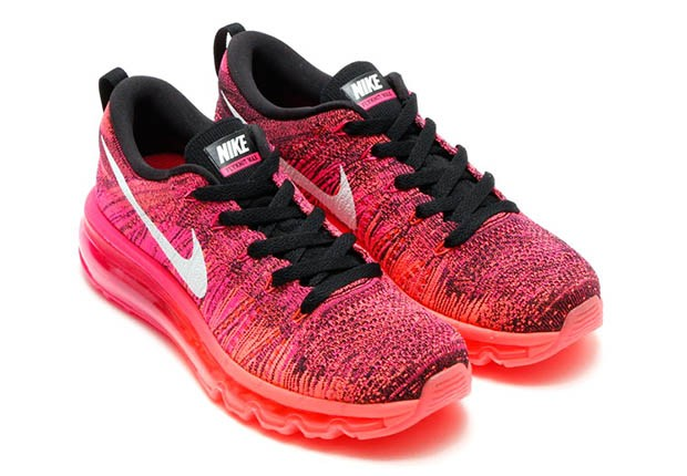 Nike Flyknit Air Max Femmes Chaussures Running Feuille Rose/Lave Chaude