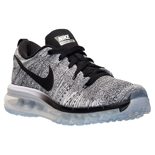 Femme Nike Flyknit Air Max Trainers Blanche/Noir/Gris Clair/Loup Gris 620659 102
