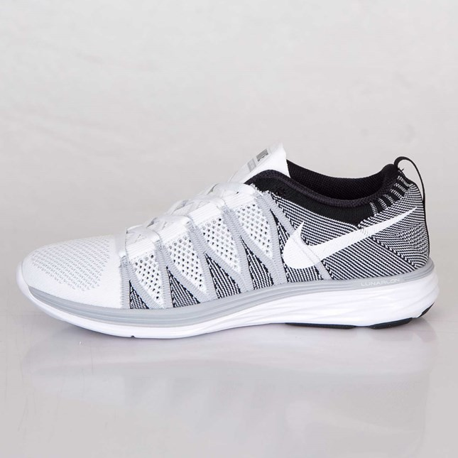Nike Flyknit Lunar2 Homme Chaussures Blanche/Blanche/Loup Gris/Noir 620465-100