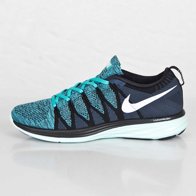 Nike Flyknit Lunar 2 Hommes Chaussures Running Noir/Blanche/Turquoise Sport/Chlore 620465-004