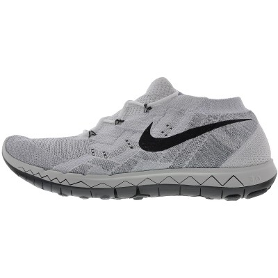 Nike Free 3.0 Flyknit Hommes Chaussure De Running Blanche/Noir-Platine Pur-Loup Gris 718418-100