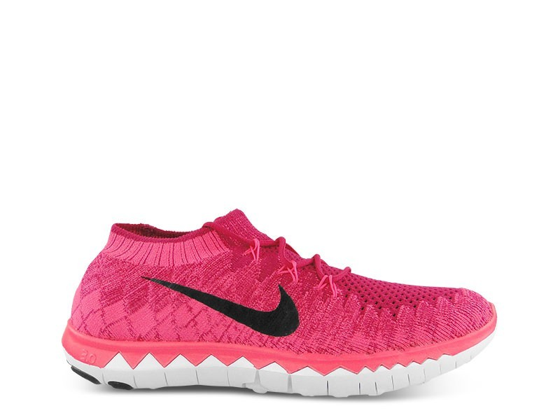 Femme Nike Free 3.0 Flyknit Trainers Fireberry/Noir-Éclair Rose 636231 606