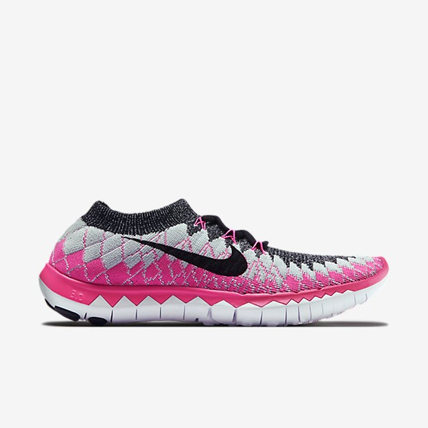 Nike Free 3.0 Flyknit Femmes Chaussures Noir/Rose Pow/Platine Pur/Noir 636231-002