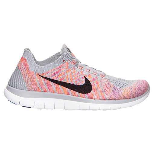 Nike Free 4.0 Flyknit Sneakers Pour Femme Loup Gris/Rose Atomique/Fuchsia Éclair 717076 002