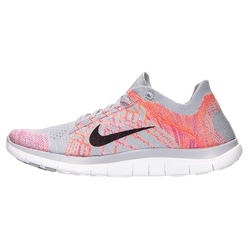 new product b1991 40d36 ... Nike Free 4.0 Flyknit Sneakers Pour Femme Loup Gris Rose  Atomique Fuchsia Éclair 717076 ...