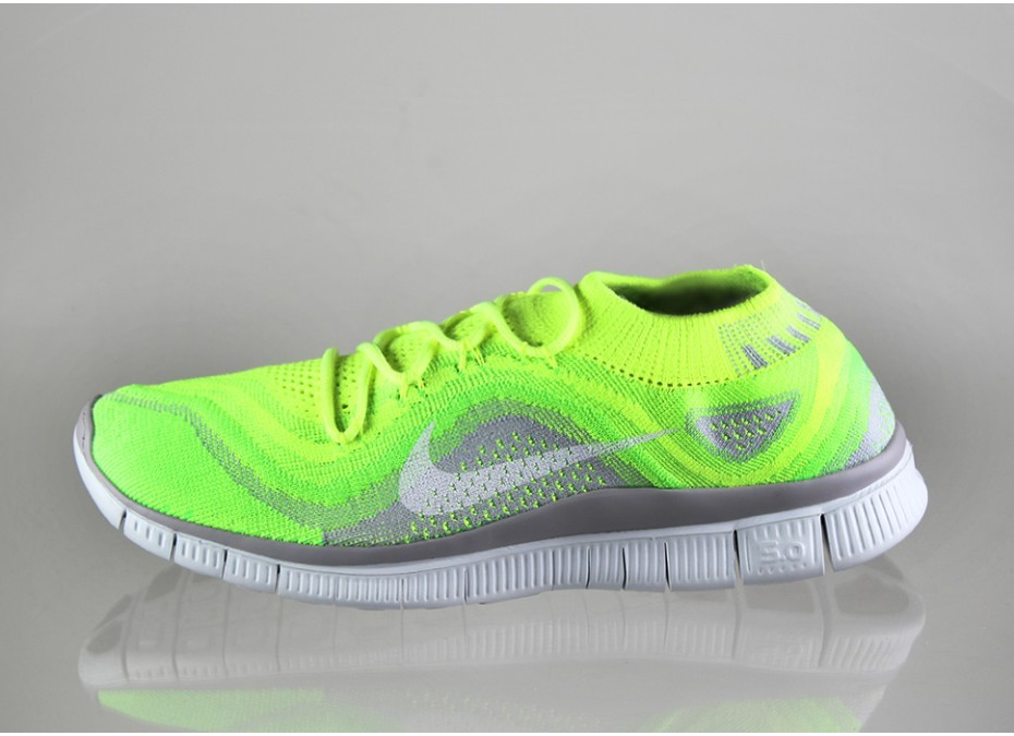 Nike Free Flyknit+ Homme Chaussures Running Volt/Blanche-Vert Électrique-Loup Gris 615805 713