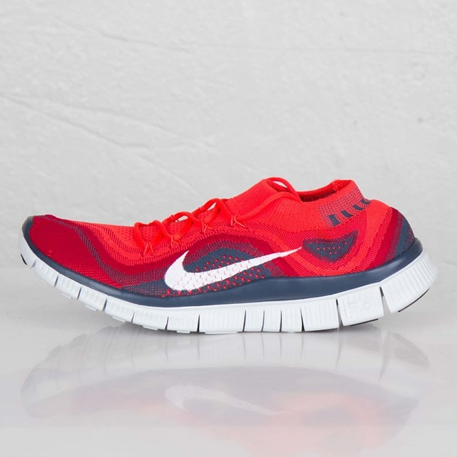 Nike Free Flyknit+ Trainers Pour Homme Lumineux Rouge/Blanche/Rouge Salle De Gym/Escadron Bleu 615805-616
