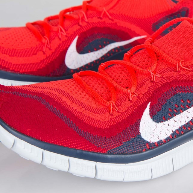 ... Nike Free Flyknit+ Trainers Pour Homme Lumineux Rouge/Blanche/Rouge  Salle De Gym/ ...