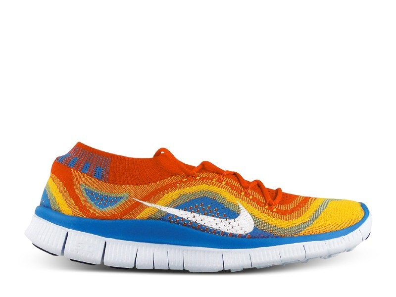 detailed look aaf56 8a5bb Homme Nike Free Flyknit+ Chaussures Équipe Orange Blanche-Orange  Laser-Lueur Bleue 615805