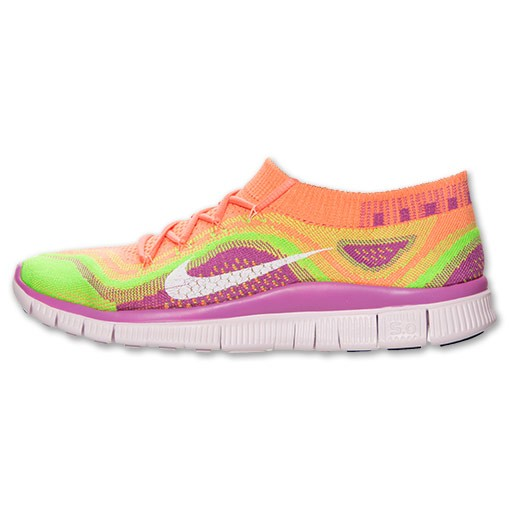 Femme Nike Free Flyknit+ Chaussures Training Rose Atomique/Blanc-Vert Électrique Club Rose 615806 613