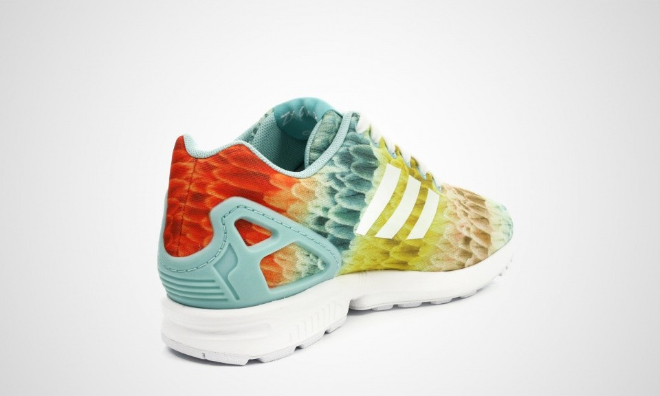 Adidas Zx Flux Print Multicolor By The Farm Company Femme Chaussure Pour Courir Ftwr Blanche/Vert Clair Vert Clair B25485