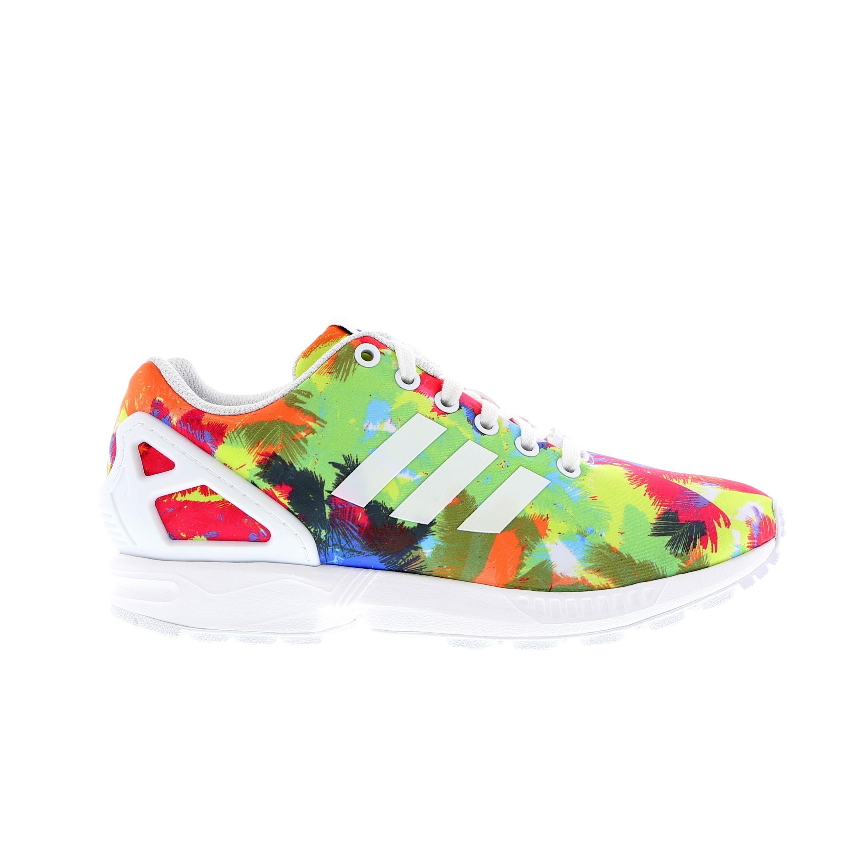 Femme Adidas ZX Flux Palm Trees Colour Splash Print Sneakers Blanche/Multi/Blanc S82823