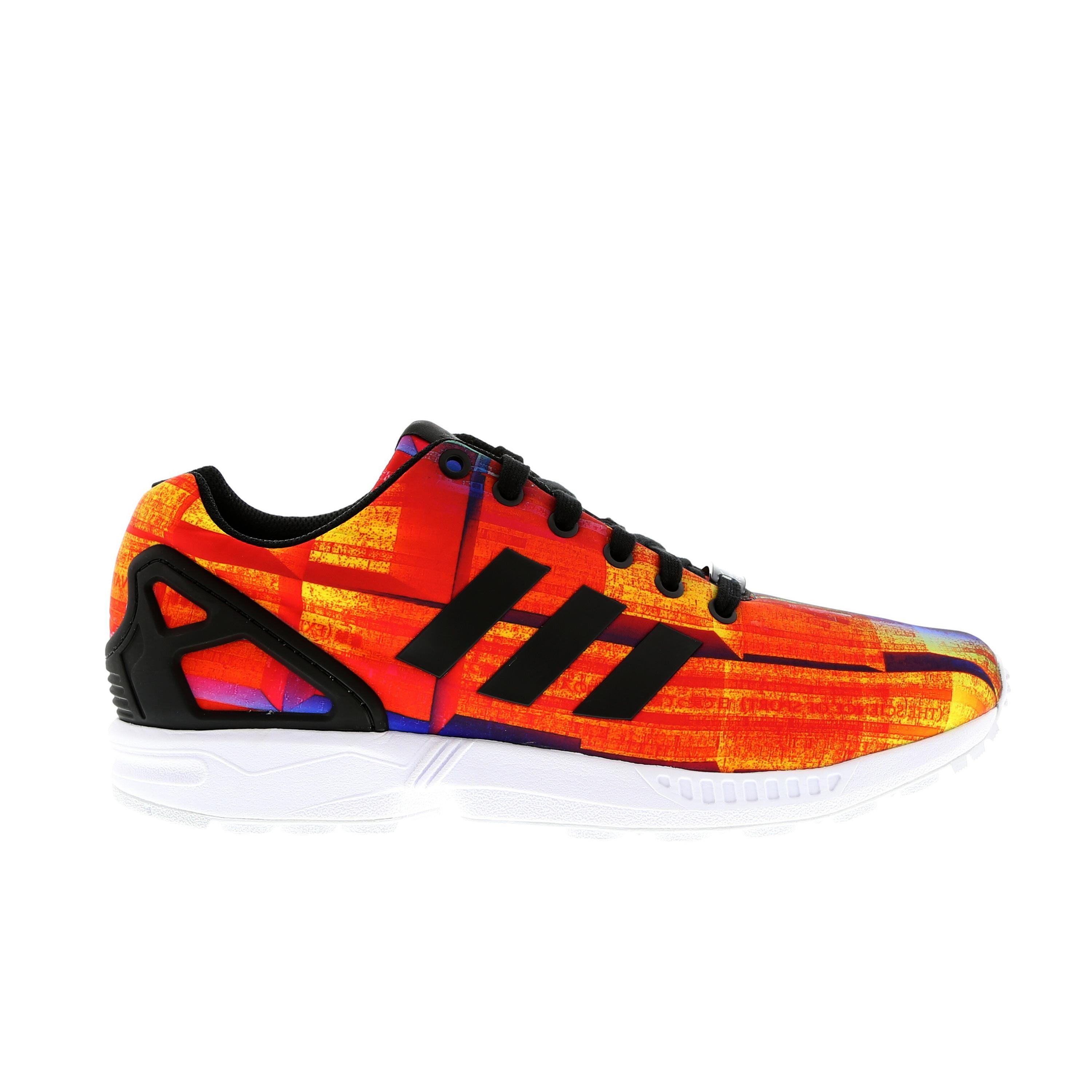 Homme Adidas Originals ZX Flux Print Sneakers Orange, Solaire/Noir/Blanche/Multicolore