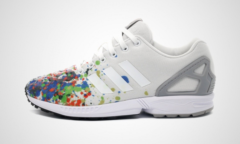 Adidas ZX Flux Color Splatter Print Hommes Trainers Ftwr Blanche/Ftwr Blanche/Gris Mgh ...