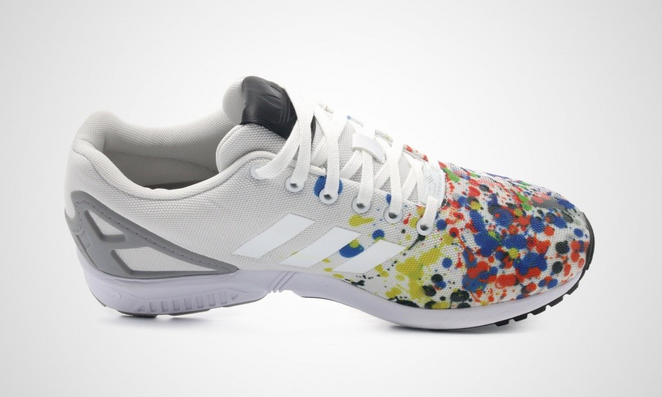 Adidas ZX Flux Print Color Splatter Femme Sneakers Ftwr Blanche/Ftwr Blanche/Gris Mgh Solide B34497