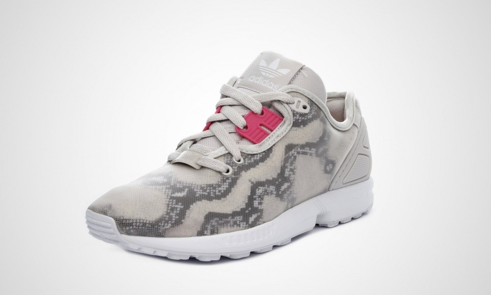Femme Adidas ZX Flux Decon Snake-print Chaussures Running Gris Perle/Joie Rose/Blanc B35371