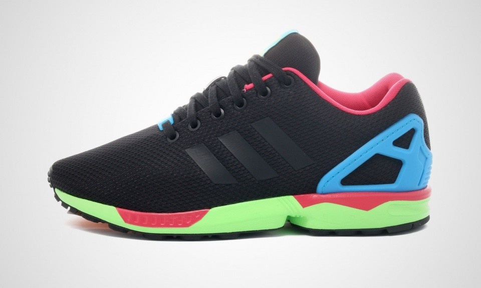 "Adidas ZX Flux ""I Want I Can"" Pack Hommes Trainers Noyau Noir/Solaire Vert/Rose Magenta/Bleu B34490"