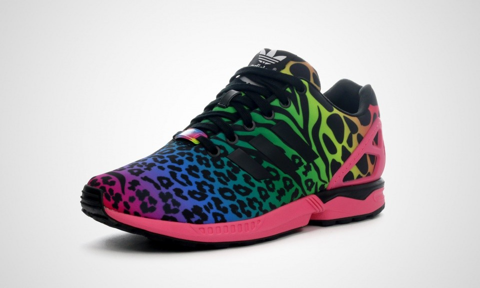 Adidas ZX Flux Italia Independent Pack - Animal Print Rainbow Multicolor Léopard Homme Chaussure Pour Courir Rose Solaire/Noir/Blanc B32740