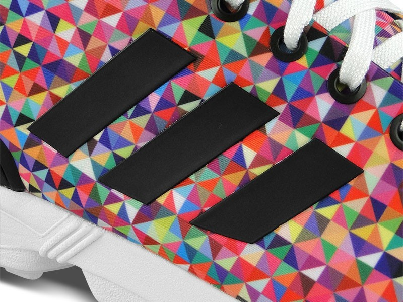 Homme Adidas ZX Flux Prism Photo Print Pack Multi-Color Torsion Sneakers Noir/Blanche En Cours D'Exécution M19845